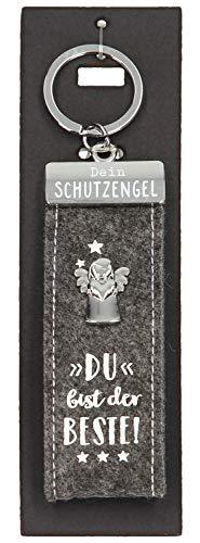 Depesche 10890.010 sleutelhanger van vilt, met beschermengel en opschrift, je bent de Beste, grijs, ca. 15 cm.