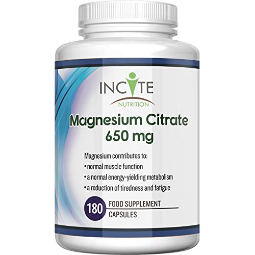 Magnesium Citrate Supplement 650mg | 180 Premium Vegan Capsules not Tablets (6 Month's Supply) | High Strength Magnesium Citrate | Suitable for Vegetarian | Made in The UK by Incite Nutrition