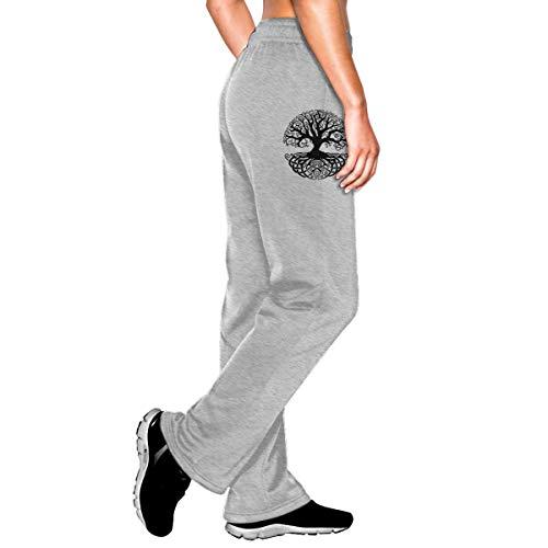 Vhlk07@P Women's Celtic Tree Knots Jogger Sweatpants, Athletic Yoga Pants with Pockets Gray