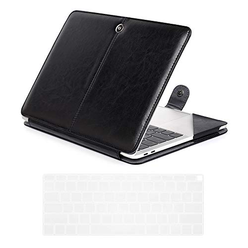 Se7enline 2018/2019/2020 MacBook Air 13 Inch PU Leather Case Model A1932/A2179 Carrying Book Folio Protective Sleeve Cover & TPU Keyboard Cover for MacBook Air 13-Inch with Retina Display, Black