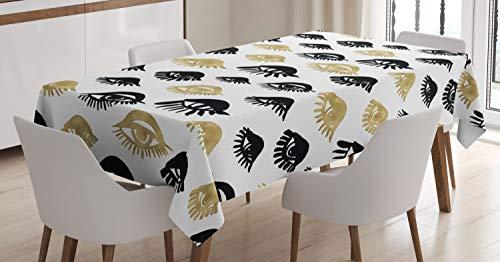 ABAKUHAUS Trippy Nappe, Femme Yeux Amour Art Moderne, Linge de Table Rectangulaire pour Salle à Manger Décor de Cuisine, 140 cm x 200 cm,...