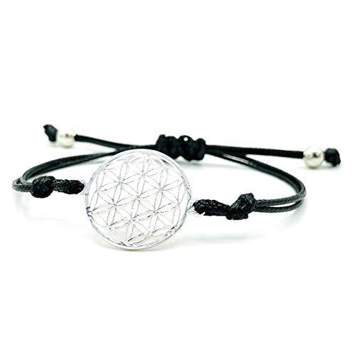 LUCIL® - FLORELIA - Armband Lebensblume Blume des Lebens Farbe: schwarz und silber