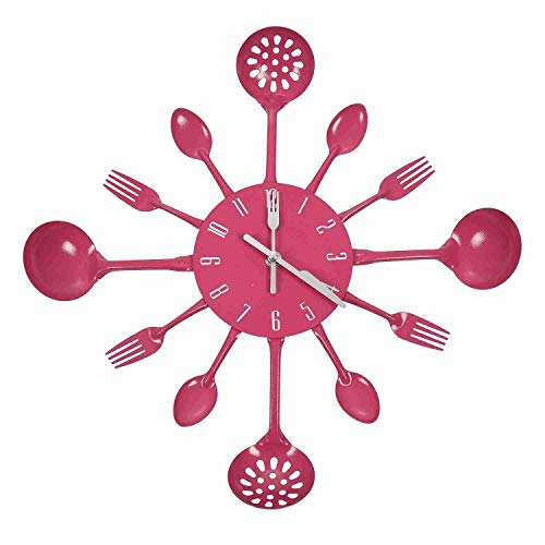 SUOMO Wall Clock Large Household Goods Tableware Wall Clock Decoration Spoon Fork Creative Clock Living Room for Living Room Decor/Bedroom/Kitchen (Color : Rose Red)
