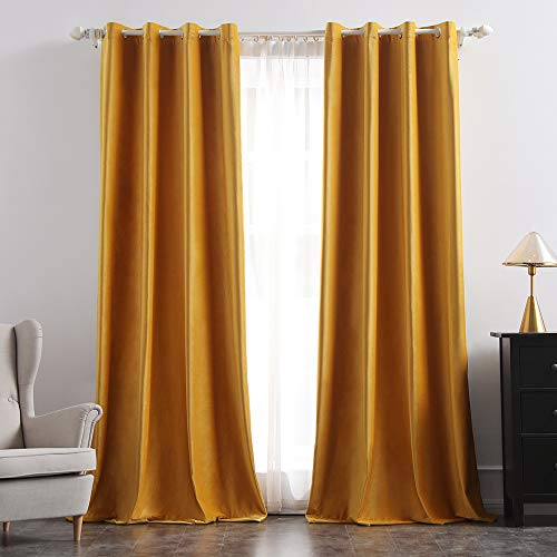 MIULEE 2 Panels Blackout Velvet Curtains Solid Soft Grommet Yellow Curtains Thermal Insulated Soundproof Room Darkening Curtains / Drapes / Panels for Living Room Bedroom 52 x 90 Inch