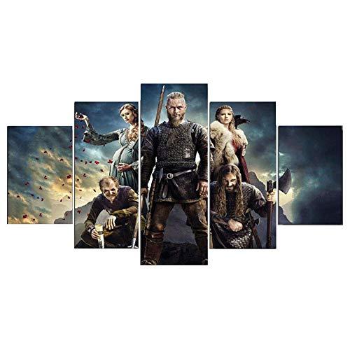 CXDM Decoración del hogar Impresión en Lienzo Pintura Mural de la Pared Temporada de Vikingos Póster 5 Piezas,B,20×35×2+20×45×2+20×55×1