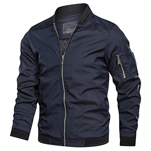 NAVEKULL Men's Lightweight Bomber Jacket Casual Spring Fall Softshell Slim Flight Coat Outerwear