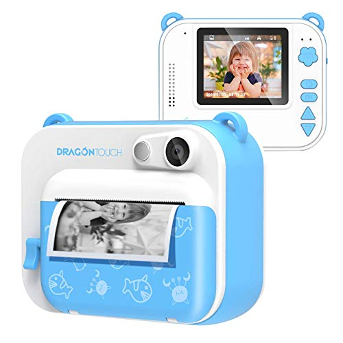 Dragon Touch InstantFun Instant Print Camera for Kids, Zero Ink Toy Camera with Print Paper, Cartoon Sticker, Color Pencils, Portable Digital Creative Print Camera for Boys and Girls - Blue