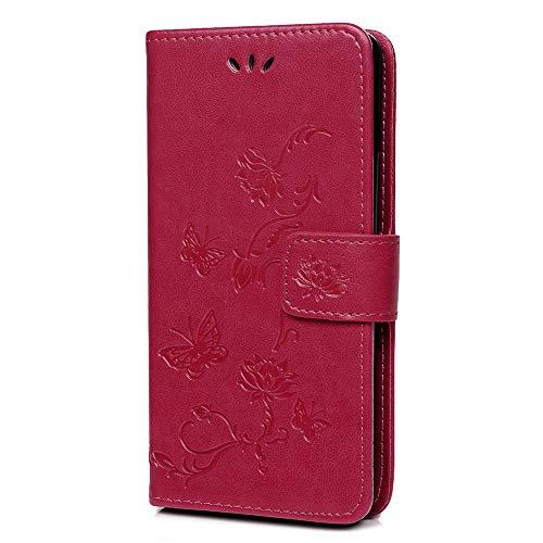Hülle für Samsung Galaxy S10 Handyhülle Leder PU Lotus Schmetterling Cover Magnet Flip Case Schutzhülle Kartensteckplätzen und Ständer Handytasche für Samsung Galaxy S10 2019 Rose Rot