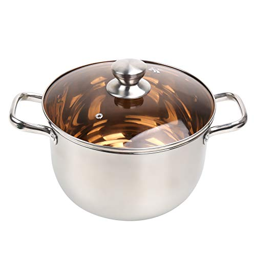 DricRoda Stainless Steel Pot, 8 QT Soup Pot with Lids and double Handles, Cooking Pot with Lid, Stockpot with Glass Lid for Home, Restaurant, Party, Dishwasher Safe