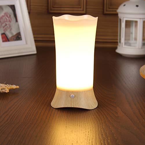 WRalwaysLX Lámparas de mesita de noche, lámpara de mesa con sensor de movimiento LED, luz nocturna con 3 pilas AA, luz alimentada para estar, mesita de noche, dormitorio, baño, pasillo, cocina
