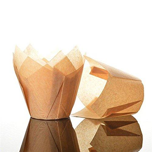 Bakery Direct Lot de 50 caissettes à muffins en forme de tulipe Taille standard Caramel