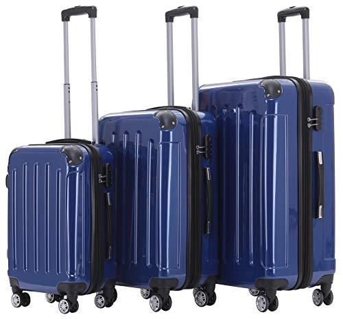 BEIBYE Hartschalen Koffer Trolley Rollkoffer Reisekoffer 4 Zwillingsrollen Polycabonat (Blau, Kofferset)