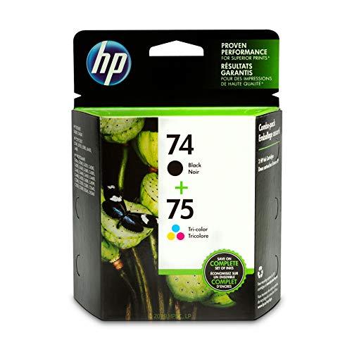 HP 74 and HP 75 | 2 Ink Cartridges | Black, Tri-color | Works with HP DeskJet D4260, HP OfficeJet J5788, J6480, HP Photosmart C4300 series, C4400 series, C4500 series, C5500 series | CB335WN, CB337WN