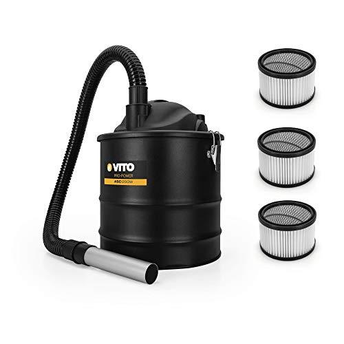Vito Aspirador de cenizas hasta 50°, 1200 W 18 L, 3 filtros Hepa, manguera de aspiración de 1 m, tubo de aspiración de aluminio de 0,2 m, adecuado para parrilla, horno, chimenea y piscinas de carbón