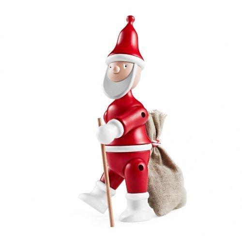 Kay Bojesen Designer Holzfiguren Weihnachtsmann, Rot/Weiss, Bemalte Buche