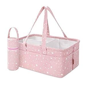 StarHug Baby Diaper Caddy Organizer – Baby Shower Basket | Large Nursery Storage Bin for Changing Table | Car Travel Tote Bag | Newborn Registry Must Have | Bonus Bottle Cooler | Pink