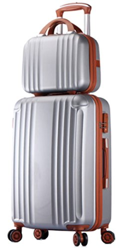 Womens ABS Spinner Luggage Candy Color Hardside Rolling Zipper Suitcase - 20 Inch Silver