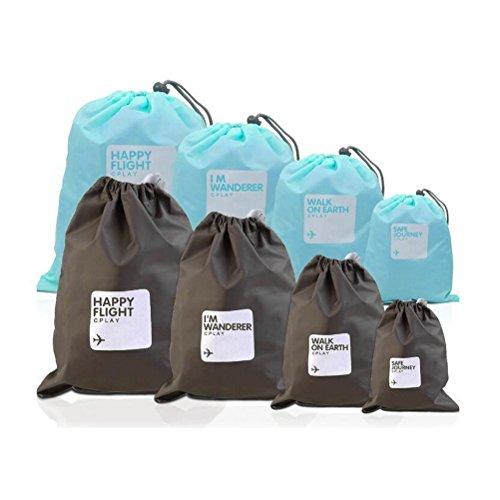 VORCOOL Beutel Organisatoren 8 Stücke wasserdichte Nylon Kordelzug Cord Tasche Aufbewahrungstasche für Outdoor Reisen (Hellblau und Braun)