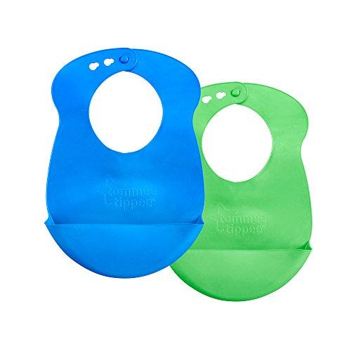 Tommee Tippee EasiRoll Up Bib BPAfree Crumb amp Drip Catcher  Blue amp Green 2 Count