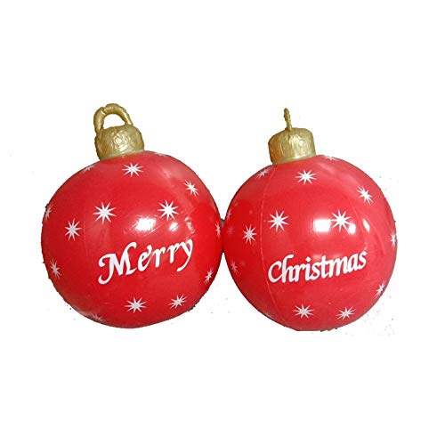 2pcs Giant Commercial Merry Christmas Inflatable Ball, 23.6inch Huge Snowflake Balloon for Christmas Yard Decoration, Outdoor&Indoor,Christmas Tree Decoration