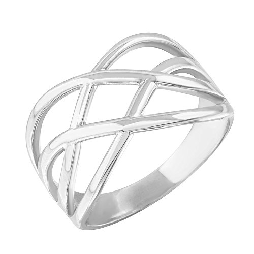 Modern Contemporary Rings Fine 10k White Gold Celtic Knot Wide Band Ring for Women (Size 11)