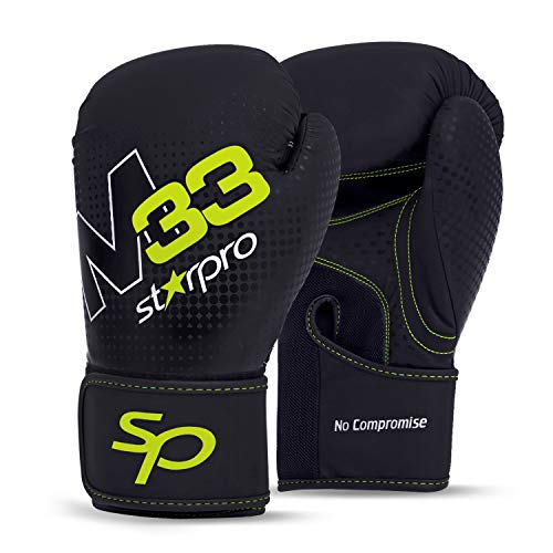 Starpro Boxing Gloves Muay Thai - Good for Training Fighting Sparring Kickboxing Punching | 8oz 10oz 12oz 14oz 16oz | Synthetic Leather Black Green Mitts for Men & Women | (Matte Black, 12oz.)