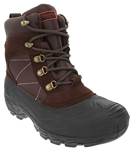 LONDON FOG Mens Woodside Waterproof and Insulated Cold Weather Snow Boot Brown 9