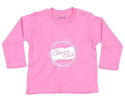 Brand88 The Losers Club, Langarm-Baby-T-Shirt, Rosa/Weiss, 3-6 Monate
