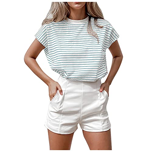 Fourth of July Tops for Women Shirts,Women's Fashion Striped Temperament Casual Short Sleeve Loose T-Shirt,Summer Sport Active T-Shirt Athletic Tee(Blue,Large)