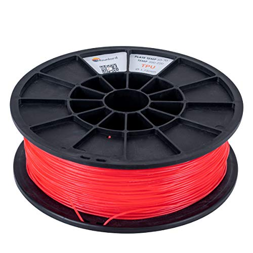 Msunlord TPE 3D Printer Filament, 95A TPE 1.75mm (Accuracy +/- 0.05mm) Flexible 3D Printing Filament, 0.95Kg Spool, Red for 3D Printers or 3D Pens