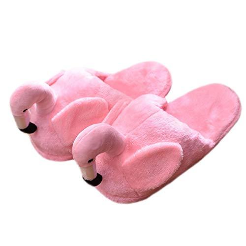 LANFIRE Flamingo Cartoon Indoor Plüsch Hausschuhe Winter Tiere Plüsch Soft-Soled Warme Bodenbelag Baumwolle Schuhe (Pink)
