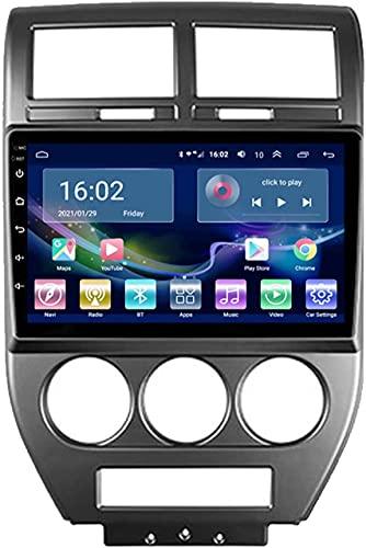 SAJK Estéreo para automóvil para Jeep Compass 2006-2010 Reproductor de navegación por Radio Android 10.0 Unidad Principal Carplay Pantalla táctil IPS de 10.1 Pulgadas BT/WiFi con cámara de Respaldo