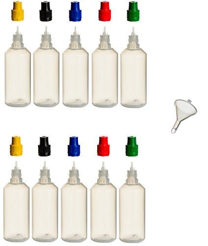 10pezzi 100ML PP di bottiglie con tappi colorati, + di riempimento Imbuto in bottiglia di plastica per salse–Cerniera Spritz bottiglia di plastica quetschbar da riempire e mescolare anche liquide