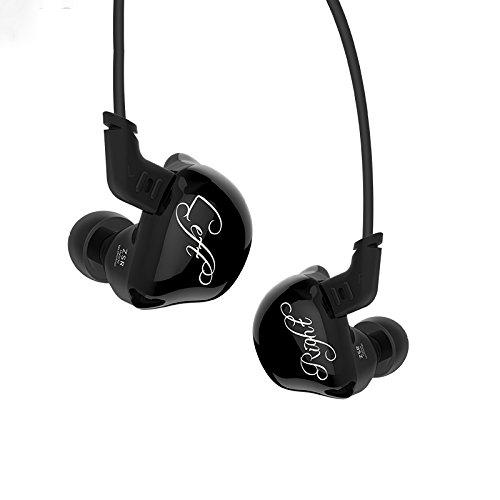 KZ ZSR In-Ear-Kopfhörer, mit Kabel, HiFi-Stereo-Kopfhörer, starker Bass, mit 1DD + 2BA Hybrid-Treiber, mit abnehmbarem Kabel, geräuschisolierendes Headset für Sport Black without microphone