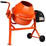 Electric Cement Mixer 2 1/5 Cu.Ft, Concrete Mixer Commercial with Stand, Small Machine Mixing for Wheelbarrow, Orange