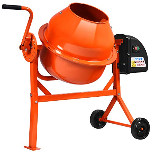 Electric Wheelbarrow Mixer for Cement Concrete Mortar, 2 1/4 Cu.Ft Concrete Mixer Machine with Stand, Garden Cement Mixing Machine with Steel Drum (Orange)