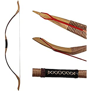 IRQ Mongolian Recurve Bow Traditional Handmade Longbow 35-55lbs Archery Wooden Bow Hunting Horse Bow Fit for Right and Left Hand Adult Archery Bows (40):Poncha2016