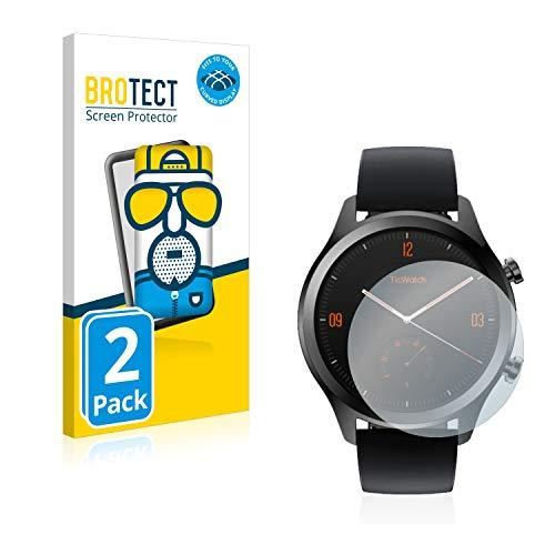 BROTECT Full-Cover Schutzfolie Matt kompatibel mit Mobvoi Ticwatch C2 / E2 (2 Stück) - Full-Screen Bildschirmschutz-Folie, 3D Curved, Anti-Reflex