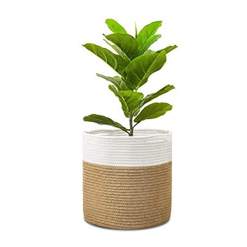 Dsaren Panier à Plantes en Corde de Coton 25 cm Pot de Fleur Tissé Panier de Rangement Organisateur avec Poignées Décoration de Maison Moderne (Blanc + Lin)