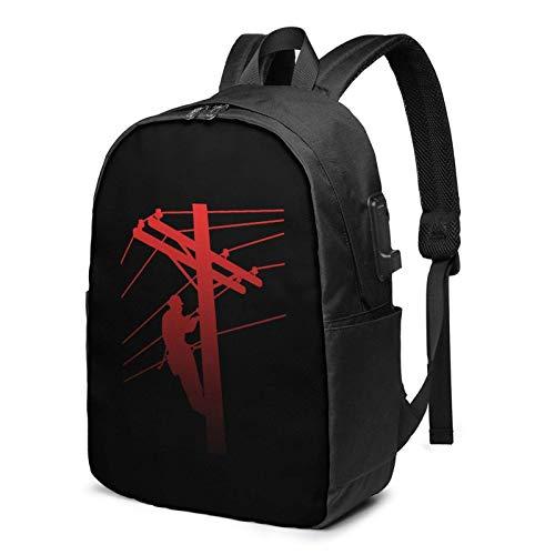 XCNGG Zaino da viaggio red lineman business laptop school bookbag con porta di ricarica USB e porta per cuffie misura 17 pollici