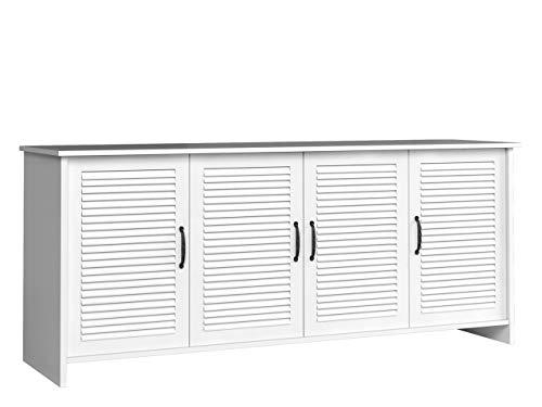 Mirjan24 Kommode Orient K4D OR04 mit 4 Türen, Mehrzweckschrank, Sideboard, Anrichte, Beistelltisch Highboard, Wohnzimmerschrank, Esszimmerkommode, Standschrank für Diele & Flur (Weiß)