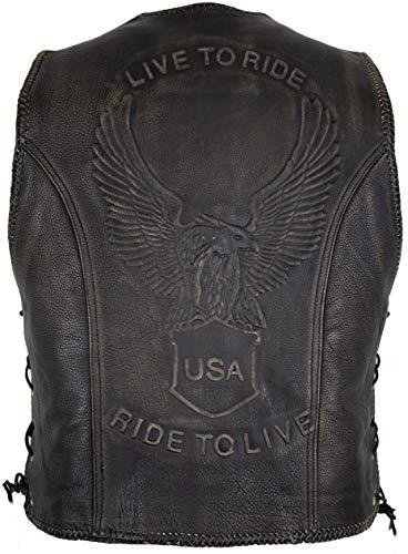 MDM Chaleco de piel con botón de presión con un águila en relieve. vintage marrón S