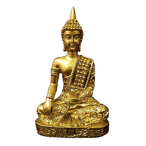 TPCYAN Golden Buddha Statue, Meditation Buddha Sculpture Figurines Ornaments, Home Garden Decoration Statues 6.5×4×11cm/2.56×1.57×4.33in