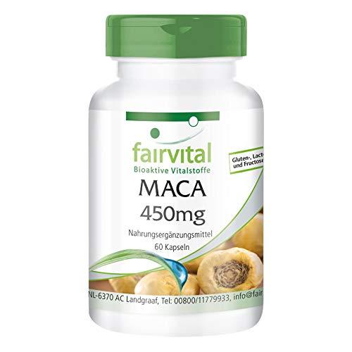 Maca Cápsulas 450mg - VEGANO - Dosis elevada - 60 Cápsulas - 4 veces extracto de raíz de concentrado - Calidad Alemana