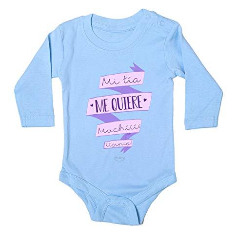 """Body bebé regalo nacimiento - manga larga - Mensaje""""Mi tía me quiere muchííííííííííísimo"""" (Azul, 3 meses)"""