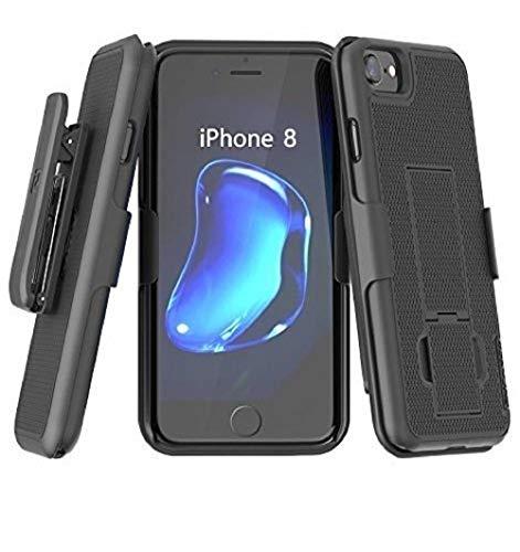 Encased iPhone 8/iPhone SE Belt Clip Case (2020) DuraClip Slim Fit Holster Shell Combo (w/Rubberized Grip Finish) Matte Black