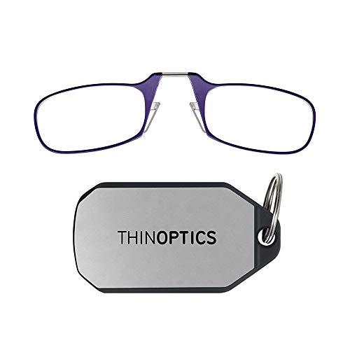 ThinOptics unisex adult Keychain Case + Reading Glasses, Purple, 44 mm US