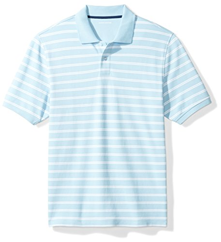 Amazon Essentials Regular-fit Striped Cotton Pique Polo Shirt Poloshirt, Light Blue Stripe, M