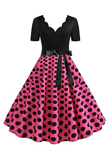 EFOFEI Vestido de mujer para Navidad, Halloween, fiesta, manga larga, línea A, falda grande, vestido de cóctel, fiesta, festival, carnaval y vestido con lazo Dxvb-rose XL