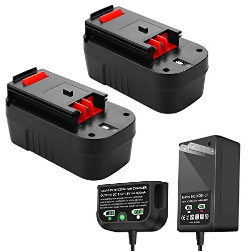 2 Pack 3.0Ah HPB18 Replacement for Black and Decker 18V Battery with Charger, Compatible with B&D 18 Volt HPB18-OPE 244760-00 A1718 FS18FL FSB18 Firestorm Cordless Power Tools(Charger Included)